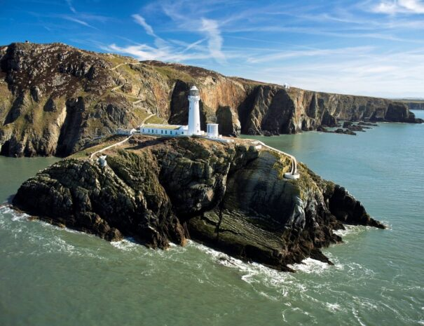 Spectacular Cliff at South Stack on the Isle of Anglesey and the Menai Straits