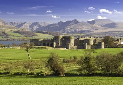 Beaumaris Castle and the Snowdonia Mountains