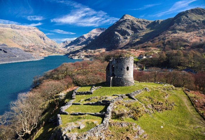 The scenic glacial mountains of Snowdonia and Dolbadarn Castle